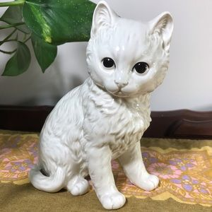 Vintage Takahashi Japan Ceramic Sweet White Cat